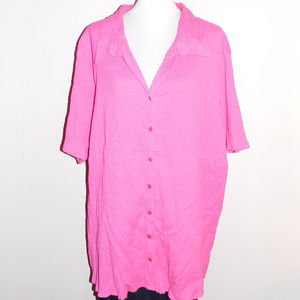 4X Mainstreet Blues Pink Crinkle Buttoned Top NWOT